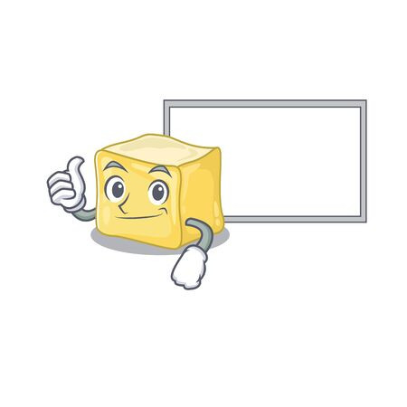Thumbs up of creamy butter cartoon design with board