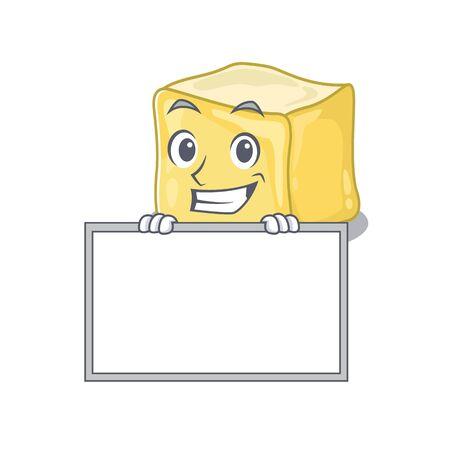 A cute picture of creamy butter grinning with board