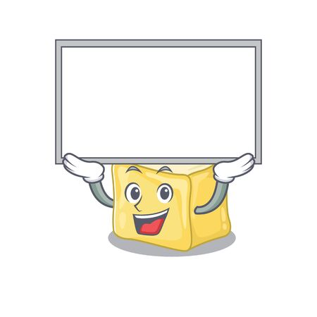 A mascot picture of creamy butter raised up board