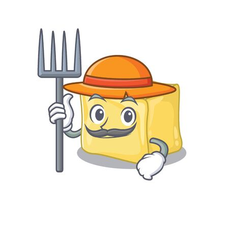 Cheerfully Farmer creamy butter cartoon picture with hat and tools