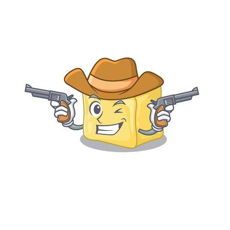 Creamy butter dressed as a Cowboy having guns