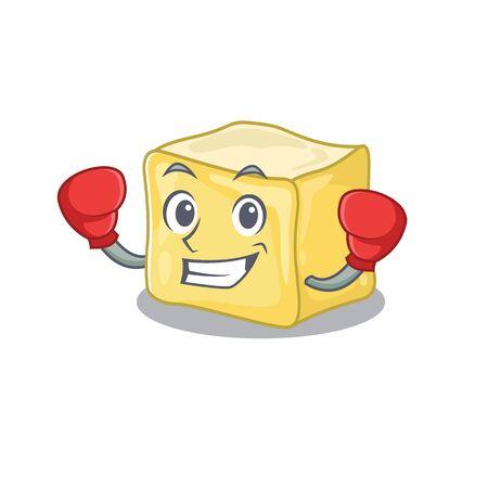 Sporty Boxing creamy butter mascot character style Ilustração