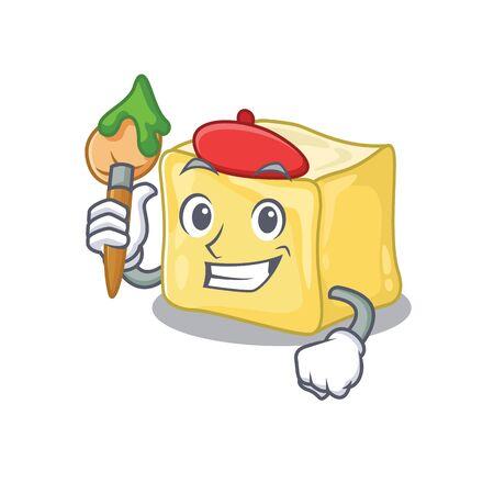 Cartoon character of creamy butter Artist with a brush Ilustração