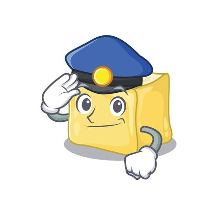 Creamy butter Cartoon mascot performed as a Police officer