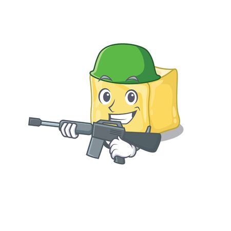 A cartoon design of creamy butter Army with machine gun