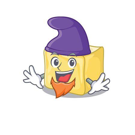 Funny creamy butter cartoon mascot performed as an Elf