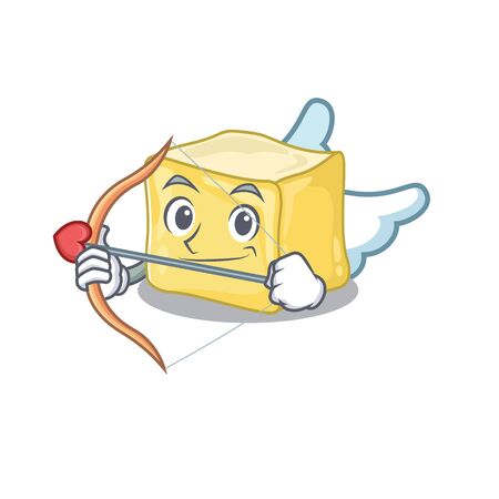 Romantic creamy butter Cupid cartoon character with arrow and wings