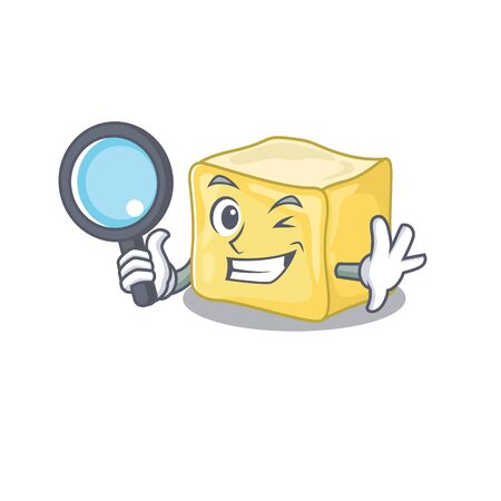 Cool and Smart creamy butter Detective cartoon mascot style