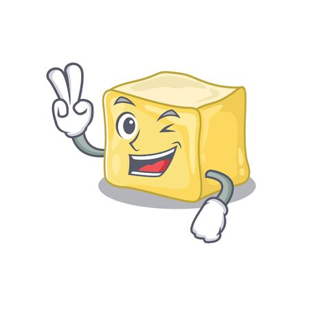 Smiley mascot of creamy butter cartoon Character with two fingers