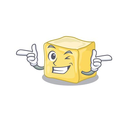 mascot cartoon design of creamy butter with Wink eye