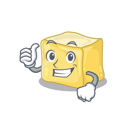 Cheerfully creamy butter making Thumbs up gesture Ilustração