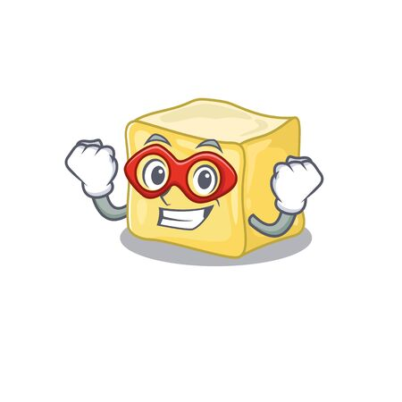 Smiley mascot of creamy butter dressed as a Super hero