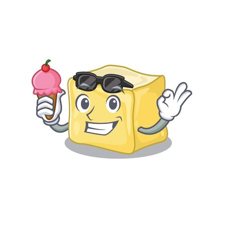 Creamy butter mascot cartoon design with ice cream Illustration