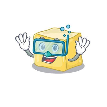 cartoon character of creamy butter wearing Diving glasses Ilustração