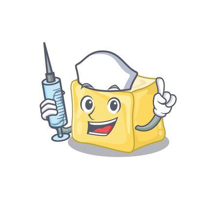 Smiley Nurse creamy butter cartoon character with a syringe Archivio Fotografico - 137944359