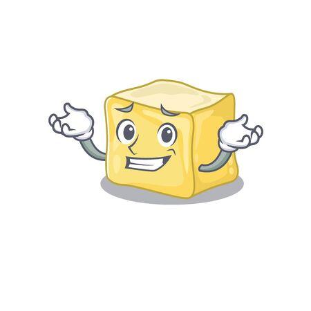 Super Funny Grinning creamy butter mascot cartoon style Ilustração