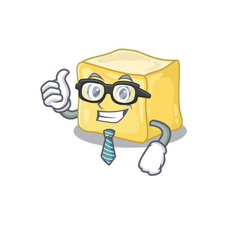 cartoon character of Businessman creamy butter wearing glasses