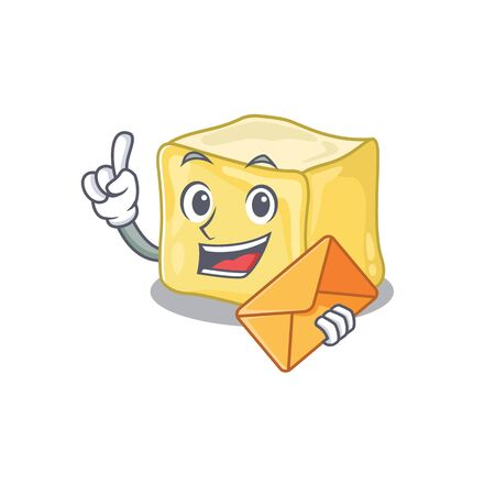 Cheerfully creamy butter mascot design with envelope