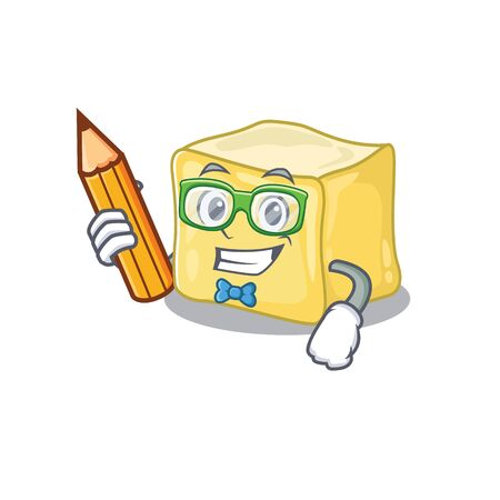 A picture of Student creamy butter character holding pencil Illustration
