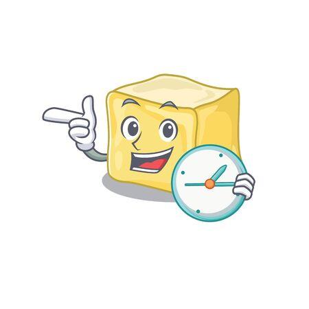cartoon character style creamy butter having clock