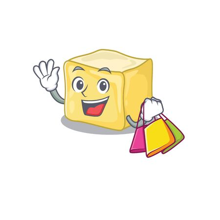 A happy rich creamy butter waving and holding Shopping bag Ilustração