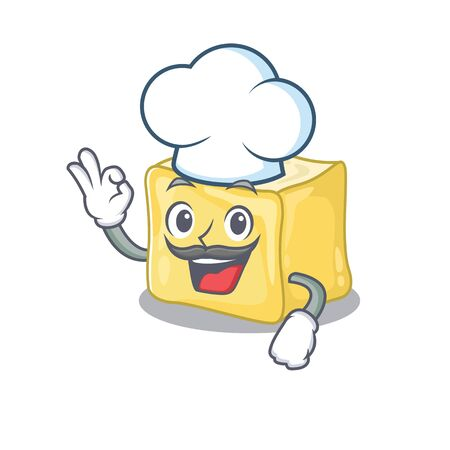 Creamy butter cartoon character wearing costume of chef and white hat