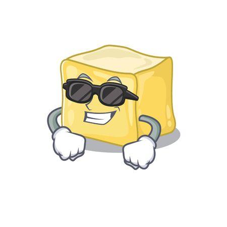 Super cool creamy butter character wearing black glasses Ilustração