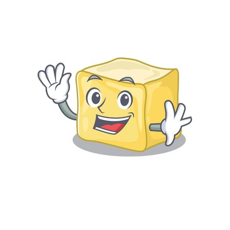 Waving friendly creamy butter cartoon character design