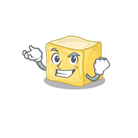 Happy confident Successful creamy butter cartoon character style