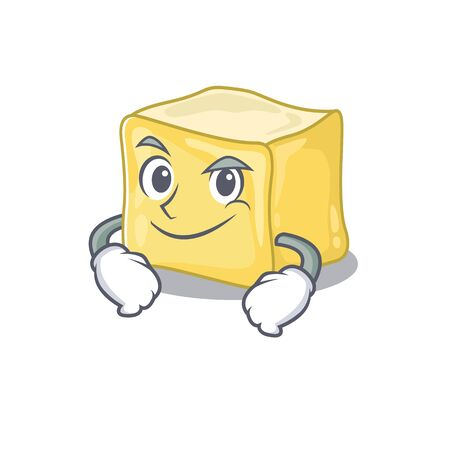 Cool creamy butter mascot character with Smirking face  イラスト・ベクター素材