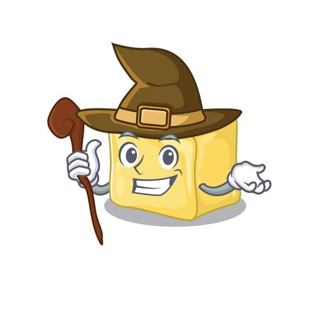 cartoon mascot style of creamy butter dressed as a witch