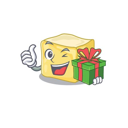 Smiley creamy butter character with gift box Illustration