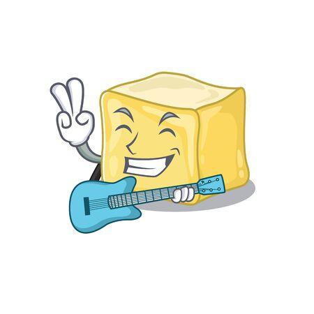 A mascot of creamy butter performance with guitar Ilustração