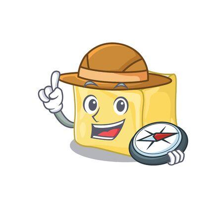 Creamy butter stylized Explorer having a compass