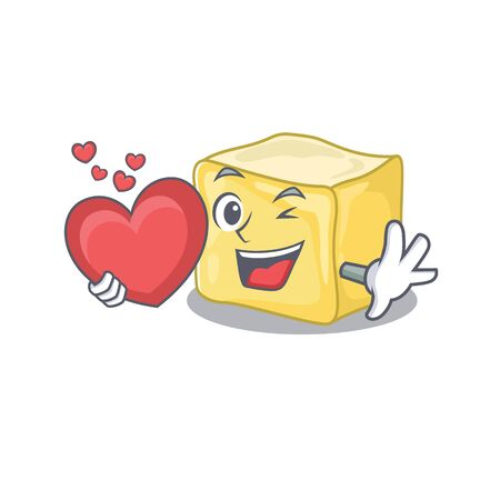 Funny Face creamy butter cartoon character holding a heart