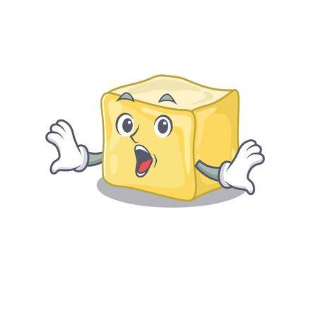 Creamy butter cartoon character design on a surprised gesture Çizim