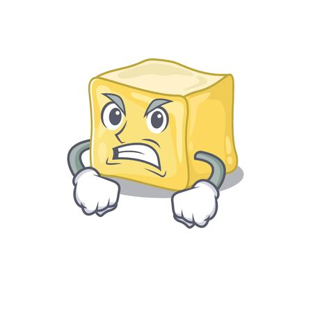 Creamy butter cartoon character design having angry face