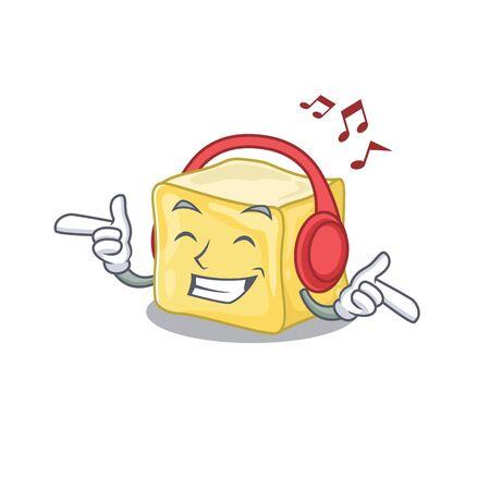Listening music creamy butter mascot cartoon character design