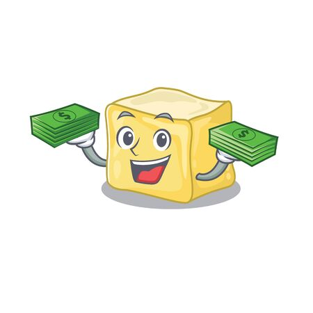 happy rich creamy butter character with money on hands Illustration