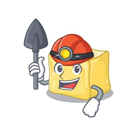 Cool clever Miner creamy butter cartoon character design