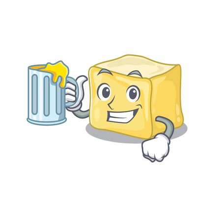 Happy creamy butter mascot design with a big glass