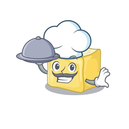 cartoon design of creamy butter as a Chef having food on tray