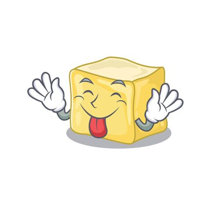 Cute creamy butter cartoon mascot style with Tongue out