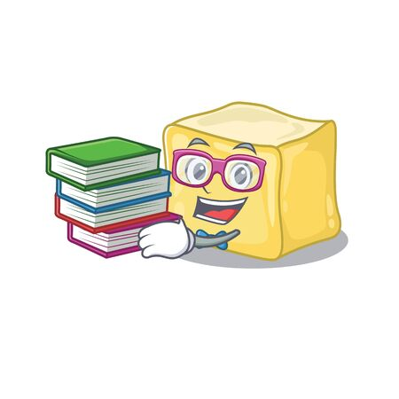 Cool and clever Student creamy butter mascot cartoon with book Illustration