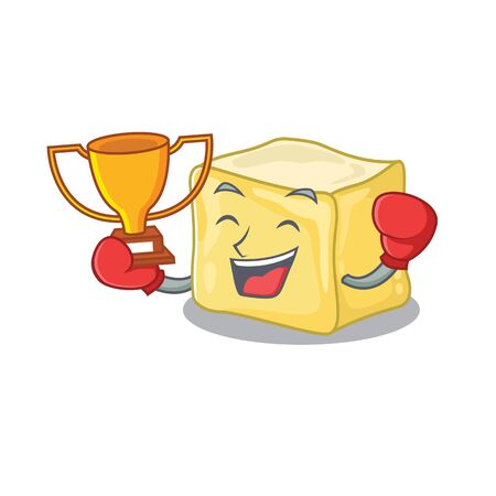 fantastic Boxing winner of creamy butter in mascot cartoon style