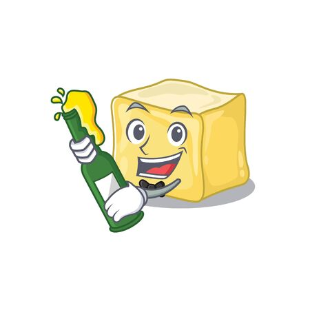 mascot cartoon design of creamy butter with bottle of beer
