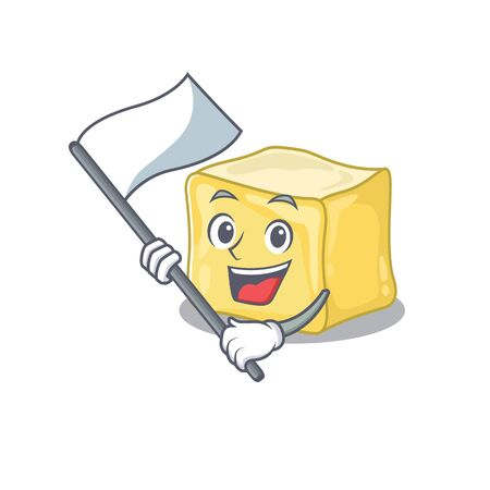 Funny creamy butter cartoon character style holding a standing flag