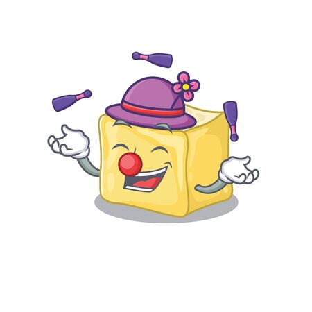 Smart creamy butter cartoon character design playing Juggling