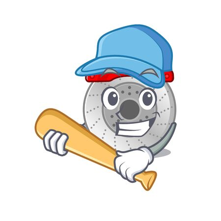 Sporty car brake cartoon character design with baseball