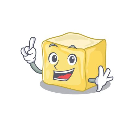 One Finger creamy butter in mascot cartoon character style